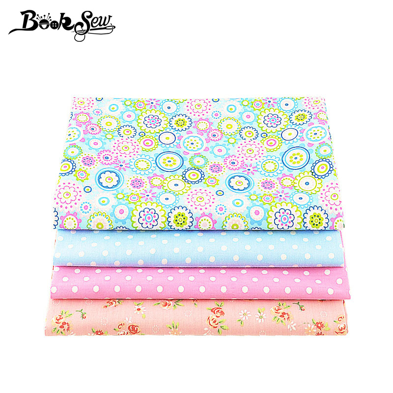 Booksew Cotton Fabric 4PCS/lot 40cmx50cm floral dots patterns bundle quilting patchwork sewing clothes bedding tissus tilda
