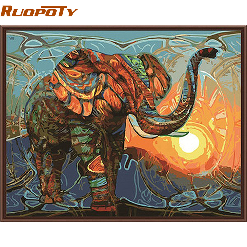 RUOPOTY Elefante Pittura di DIY Dai Numeri Animali Vintage Pittura Acrilica Immagine Casa Wall Art Decor Regalo Unico Parete Artwork
