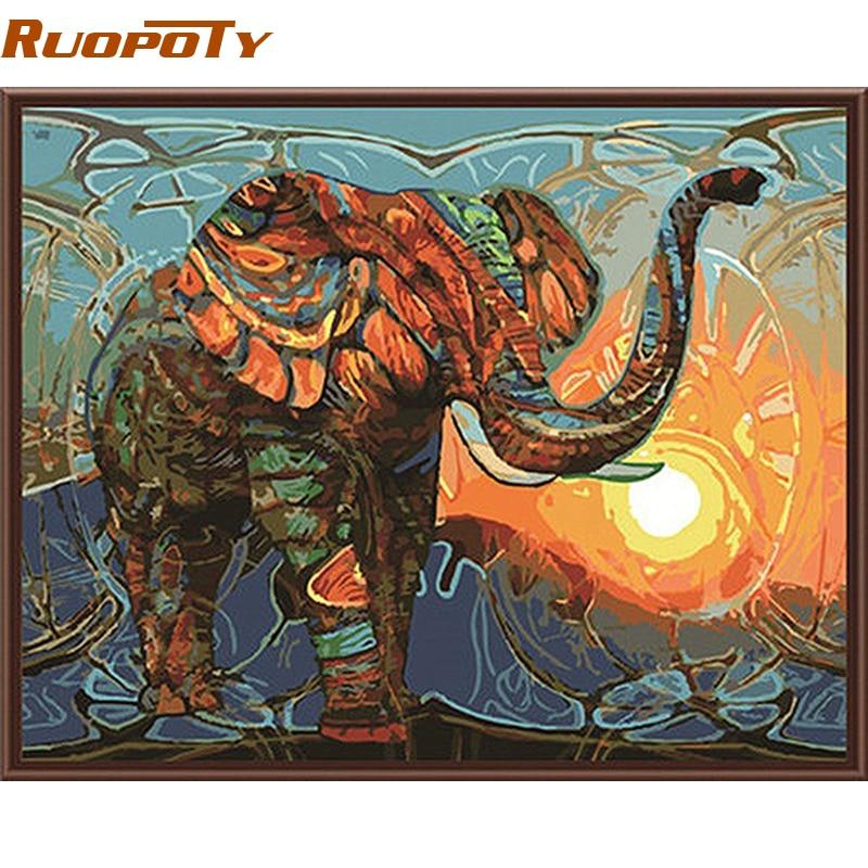 RUOPOTY elefante DIY pintura por números animales pintura Vintage acrílico hogar pared arte decoración Ilustraciones únicas de la pared del regalo