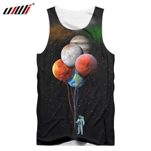 UJWI 2019  Mens Vest Astronaut Space Balloon Planet 3D Print Tank Top Short Fashion Casual Clothing Plus Size 5XL