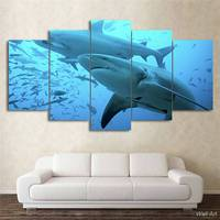 Hd 인쇄 5 개 캔버스 아트 블루 깊은 바다 그림 큰 상어 거실 현대 무료 배송-92841-YP