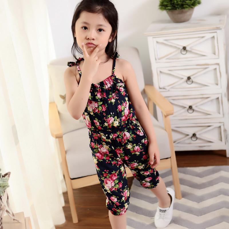 4cf5a8392 2018 Summer Girl Overalls Sleeveless Baby Pants Floral Print Girl ...
