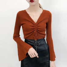 Flare Sleeve Sweater Women Fashionable Drawstring Knitted Split Autumn Winter Sweaters Pullovers Female Tricot Jumper Femme shirred drawstring split sleeve top