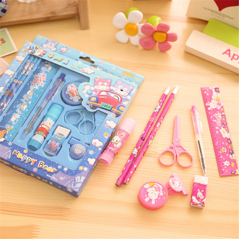 Stationery kit, pencil box gift, gift kindergarten learning goods 9 nine pieces of wholesale price Teaching equipment for office
