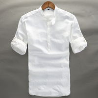 Summer Linen Shirt Men High Quality Casual Three Quarter Regular Sleeve Comfortable Tops Thin Fit White