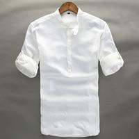 Summer Linen Shirt Men High Quality Casual Three Quarter Regular Sleeve Comfortable Tops Thin Fit White