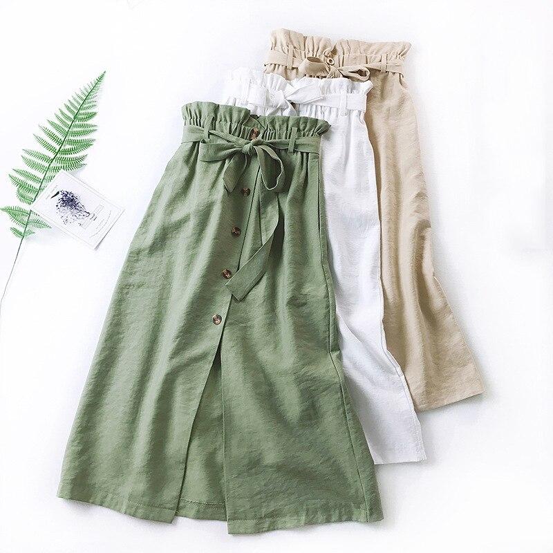 a7376ce3644 Detail Feedback Questions about Wasteheart Autumn Green Khaki Vintage Women  Skirt Women High Waist A line Ankle Length Skirt Button Clothing All match  Keep ...