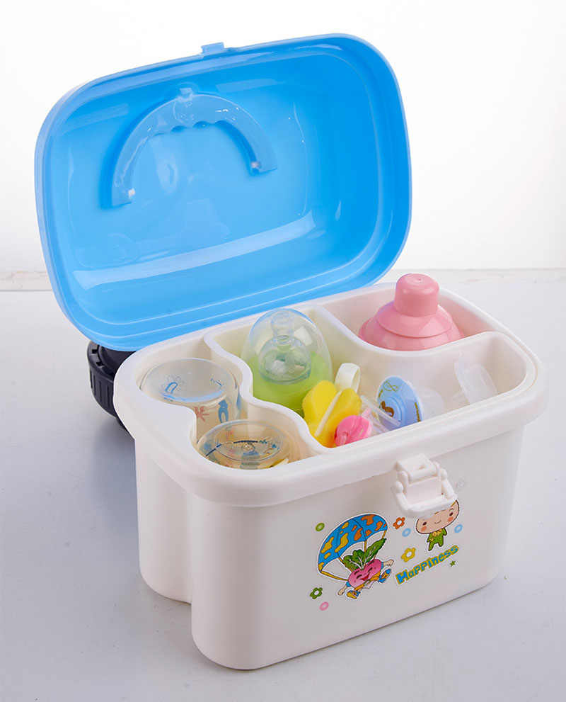 new baby kids children portable bottle drying racks with Anti-dust cover large nursing bottle storage box baby dinnerware