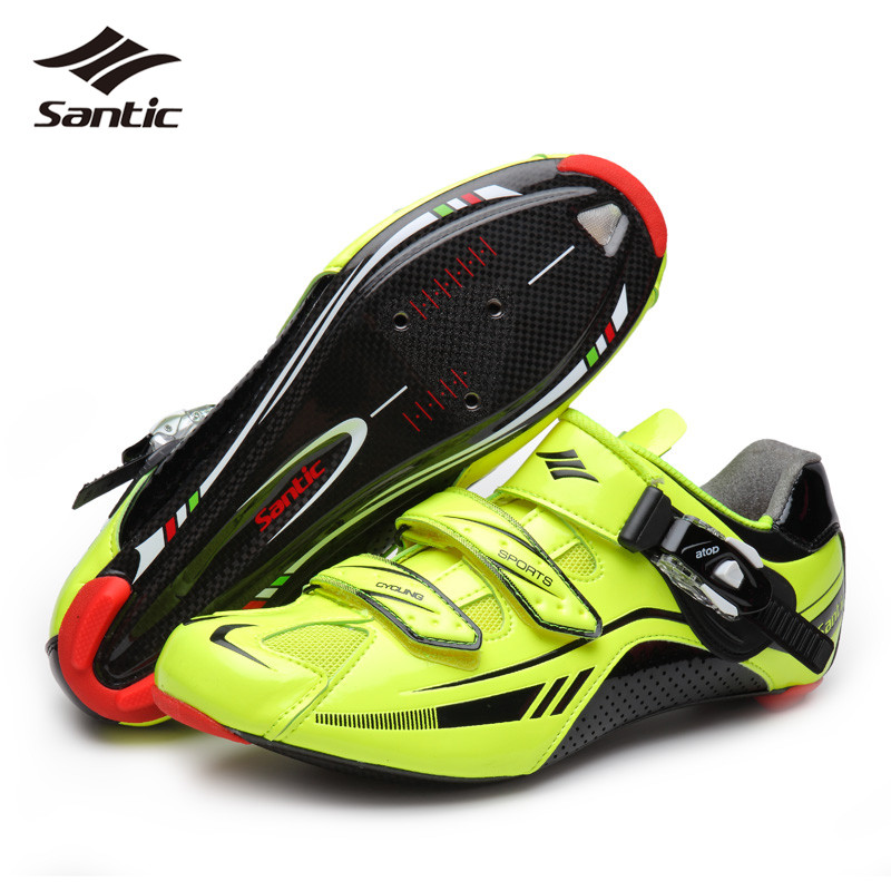 все цены на  Santic PRO Road Cycling Shoes Men Self-locking Road Bike Shoes Carbon Fiber Sole Bicycle Shoes Athletic Sneakers Scarpe Ciclismo  онлайн