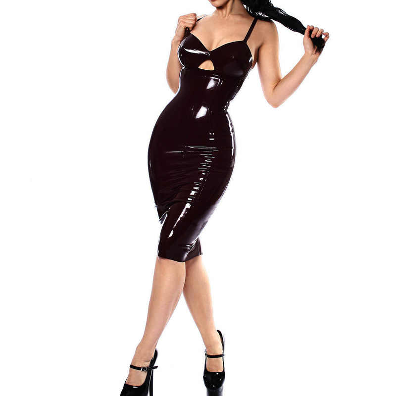 5bc3efe438a Hot Sexy Hollow Out Faux Leather PVC Women Club Dress 2018 Bodycon Party  Dresses Ladies Vestidos