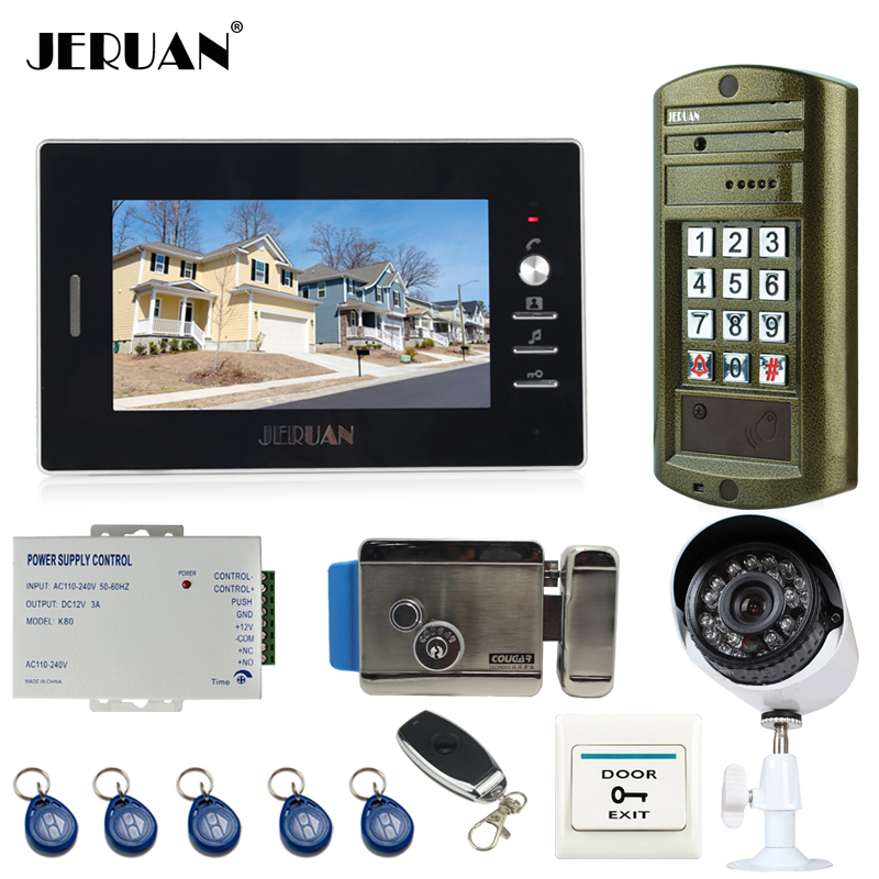 JERUAN 7 inch Video Door Phone Intercom System kit Metal panel waterproof password keypad HD Mini Camera +Security Camera+E-lock jeruan 8 inch tft video door phone record intercom system new rfid waterproof touch key password keypad camera 8g sd card e lock