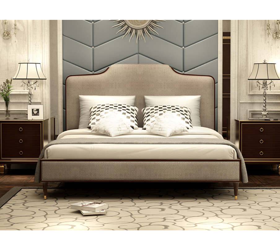 Luxury Antique Style King Size Bed Queen Size Bed Solid