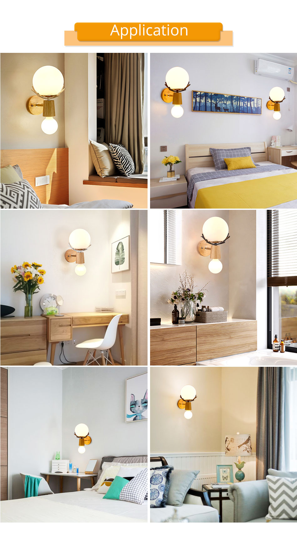 Creative LED Wall Light Sconces E27 Bulb Wood Retro Wall Lamps Hotel Home Living Room Bedroom bedside indoor lighting Fixture (9)