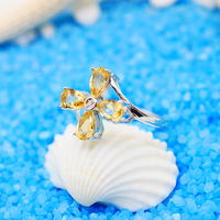 925 Sterling Silver Ring Engagement Citrine Ring Wedding Rings Silver Color Women Trendy Crystal Jewelry