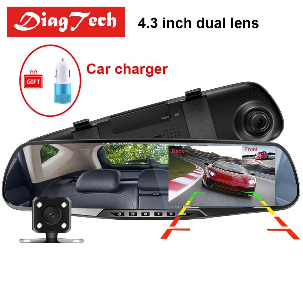 Gryan 4,3 ''espejo retrovisor del coche Dvr de la cámara HD 1080 P HD espejo retrovisor grabadora de Video Digital de doble lente auto Dash Cam