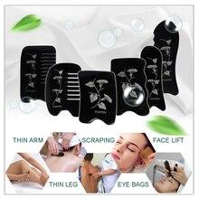 new Ox Horn engraved designs beauty massage Guasha tool 1pcs square plate+ 2pcs fish 3pcs/set цена в Москве и Питере