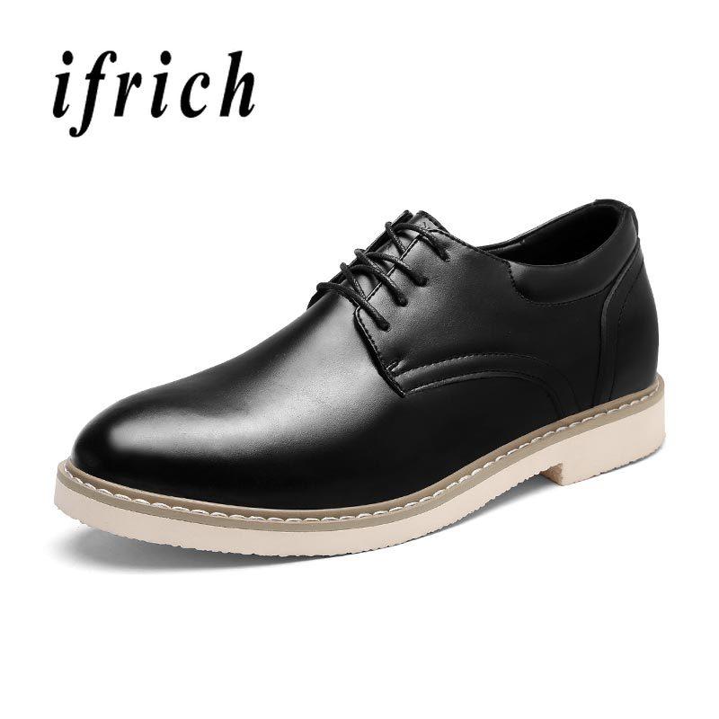 Fashion Mens Dress Shoes Black Brown Wedding Shoes for Men Pu Leather Business Dress Derby Shoes Non Slip Hidden Heel Men Shoes