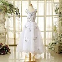 Hàng hóa tại chỗ hoa trẻ em mang một vai tay Pageant Dresses cưới cô bé mặc váy