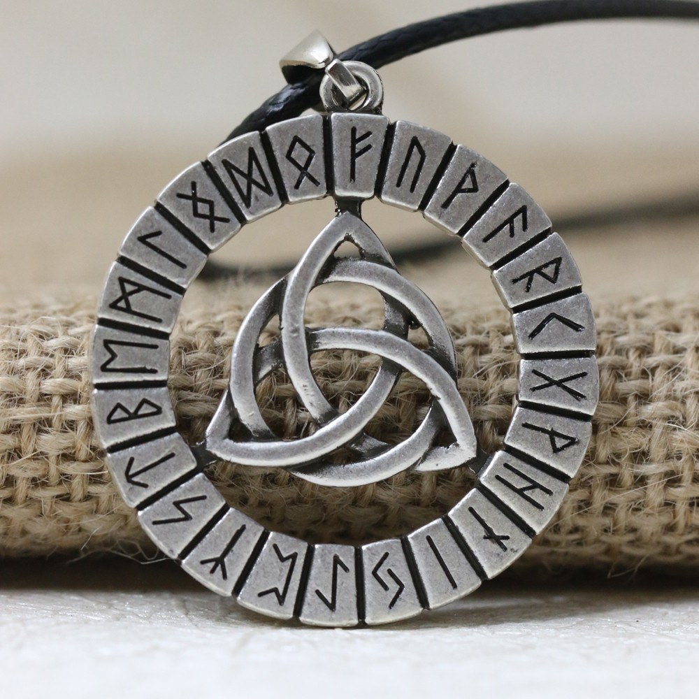 LANGHONG 1pcs Nordic Vikings Rune Amulet Pendant Necklace Viking Knot Original Amulet Pendant Necklace Talisman