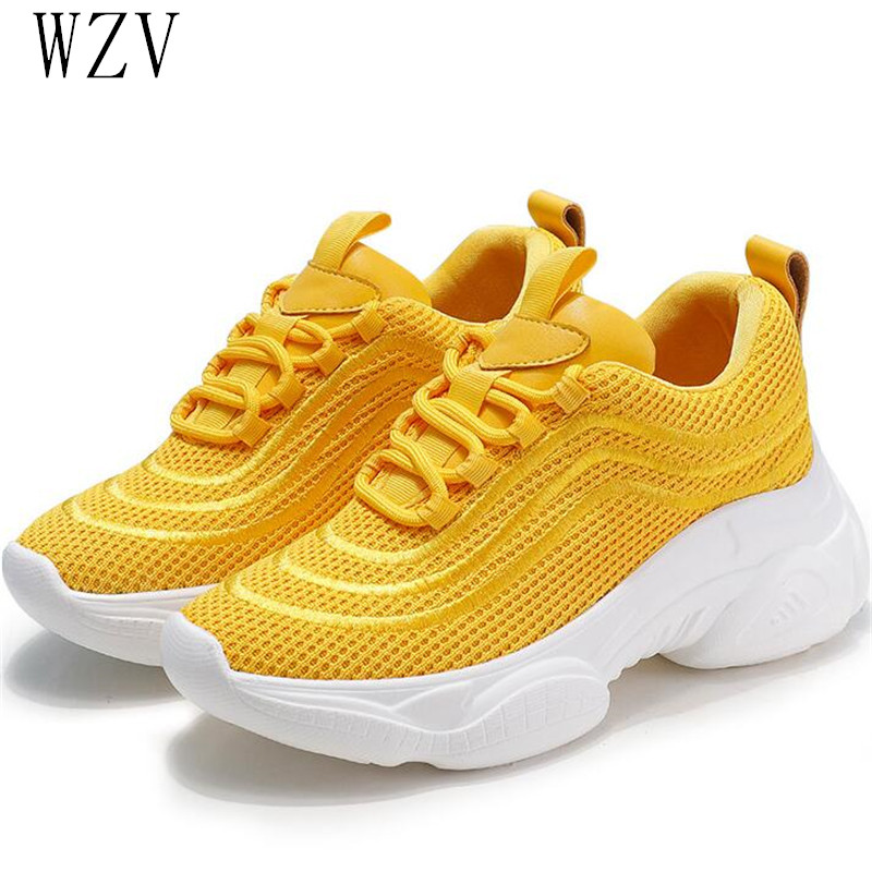 2019 Summer Fashion Women Casual Shoes Mesh Platform Breathable Women Sneakers Ladies White Yellow Trainers Chaussure Femme