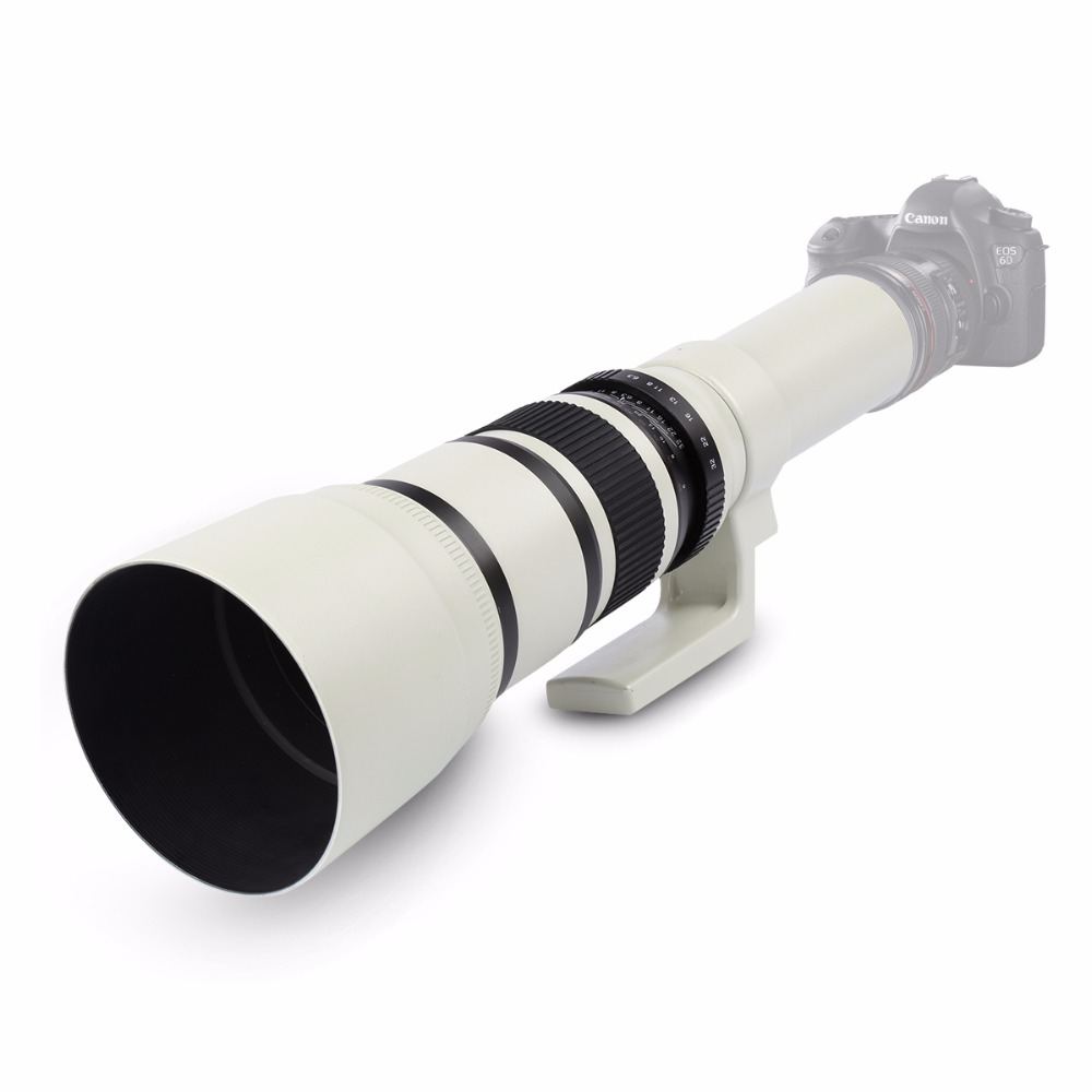 White 500mm F/6.3 Telephoto Fixed Prime Telephoto Lens+T2 Lens Adapter Ring for Canon Nikon Sony Pentax DSLR Cameras 5
