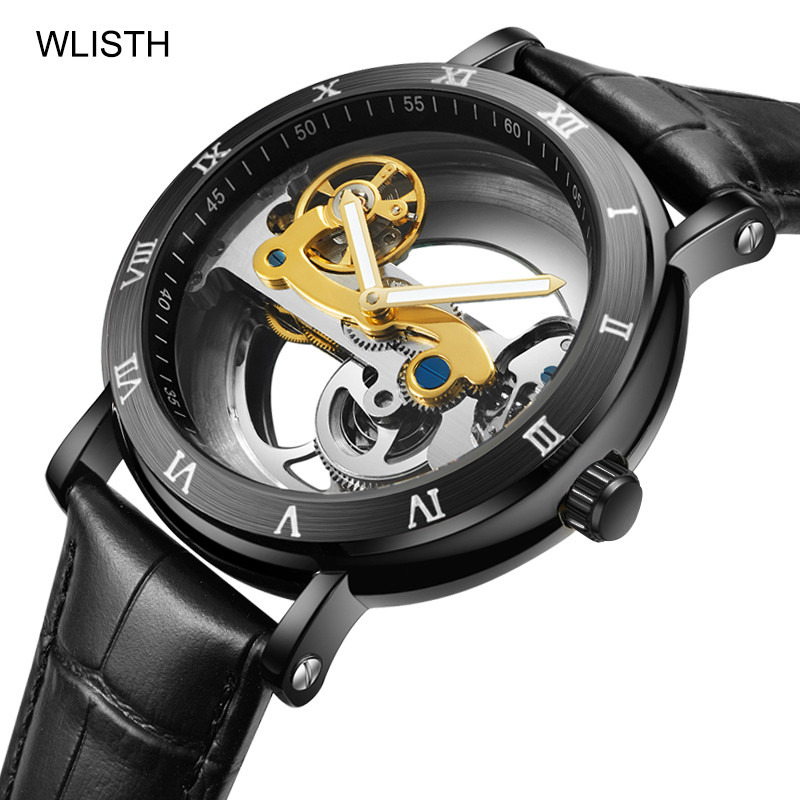WLISTH Automatic Watch Fashion Casual Men's Watch Luxury Leather Skeleton Mechanical Watch ARC Mirror Water Resistant Luminous(China)