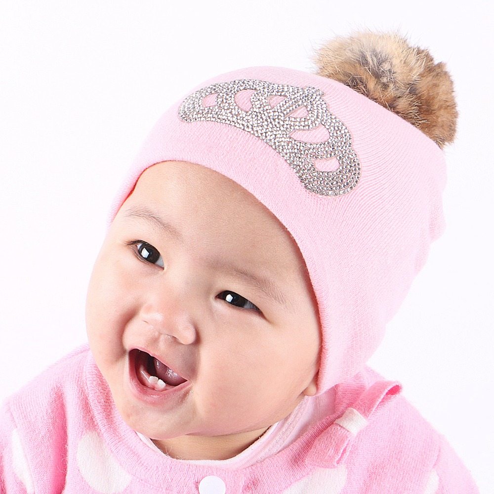 girl boy baby fashion knitted winter hat cap rhinestone crown kids beanies colorful cotton real animal fur ball crochet gorros
