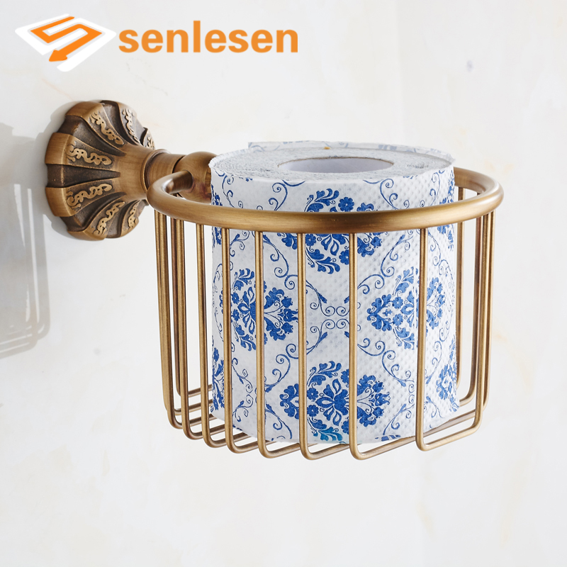 Free Shipping Best Quality Antique Brass Bathroom Paper Holder Wall Mounted Toilet Paper Rack free shipping high quality bathroom toilet paper holder wall mounted polished chrome