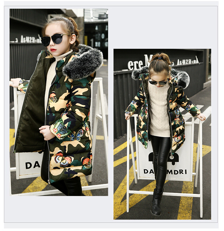 BibiCola girls winter coats fashion camouflage hooded long sleeve down parkas for children cotton jackets kids bebe snow suits цена