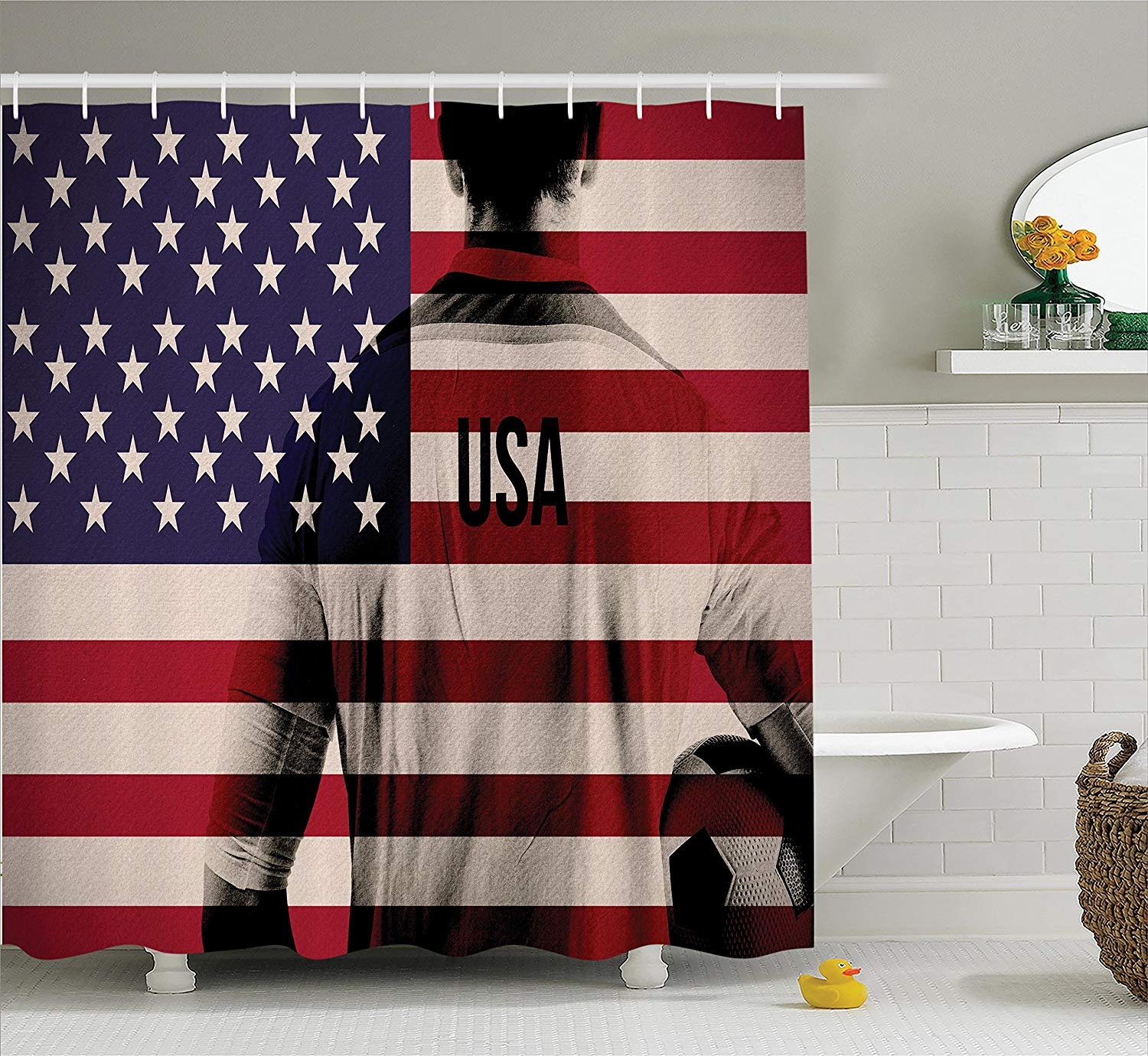 Us 15 06 40 Off Sports Shower Curtain Composite Double Exposure Image Of A Soccer Player American Flag National Usa Run In Curtains From Home