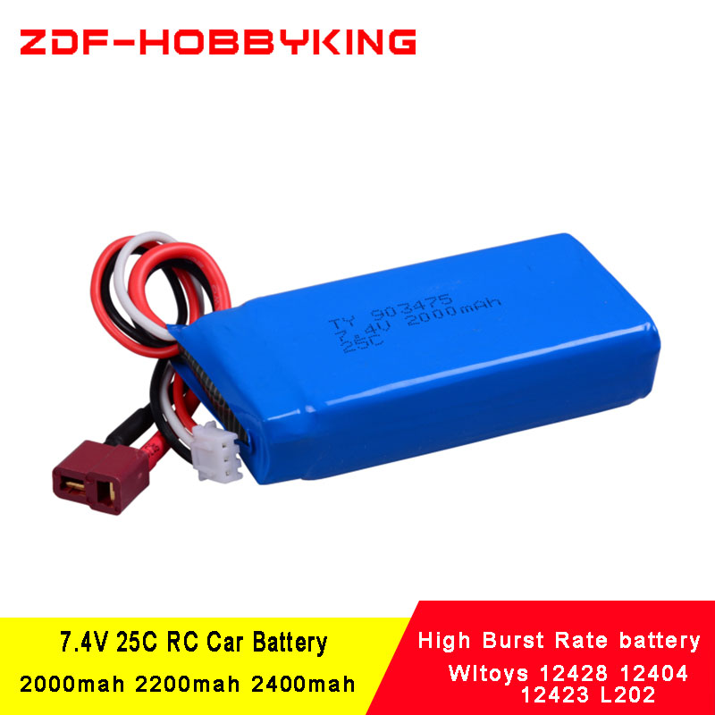2PCS Rc <font><b>Lipo</b></font> Battery <font><b>2S</b></font> 7.4V <font><b>2000mah</b></font> / 2200mah / 2400mah 25C Max 50C for Wltoys 12428 12404 12423 L202 1:12 RC Car Spare parts image