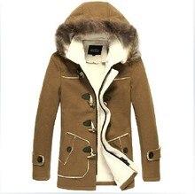 Бесплатная доставка мужская зима новый бренд Досуг Корейской моды мужской толстый бархат с капюшоном рог кнопку мужская шерстяное пальто куртка