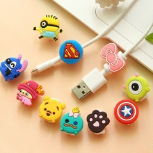 Cute Cartoon Cable Protector Data Line Cord Protector Protective Case Cable Winder Cover For iPhone4 4s 5 USB Charging Data Line