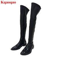 Элитный бренд стильный низкий каблук обувь молния сбоку Сапоги выше колен (ботфорты) зима Для женщин сапоги длинные пинетки сеть Декор обув