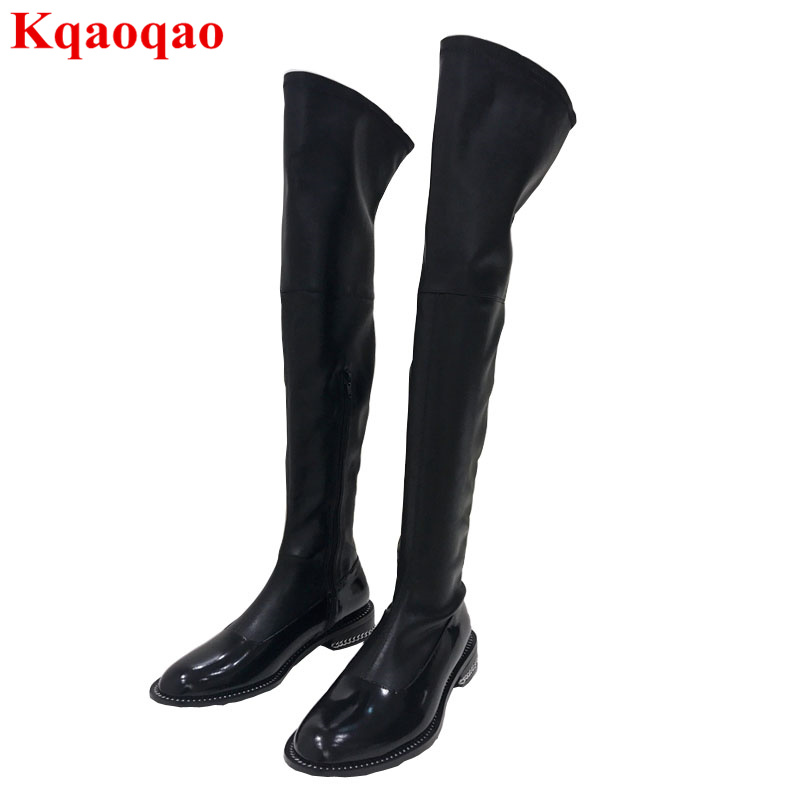 Luxury Brand Stylish Low Heel Shoes Side Zip Over Knee Boots Winter Women Boots Long Booties Chain Decor Shoes Chaussures Femmes stylish rhinestone three layered tassels shoes chain for women