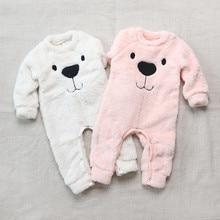 7d2da0b2011 2018 Winter Thick Sweater knitted Romper Cartoon Bear kids clothing Warm  Plush long sleeve Jumpsuit baby