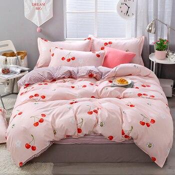 Pink Cherry Printing Textile Bedding Set Bedding Sets