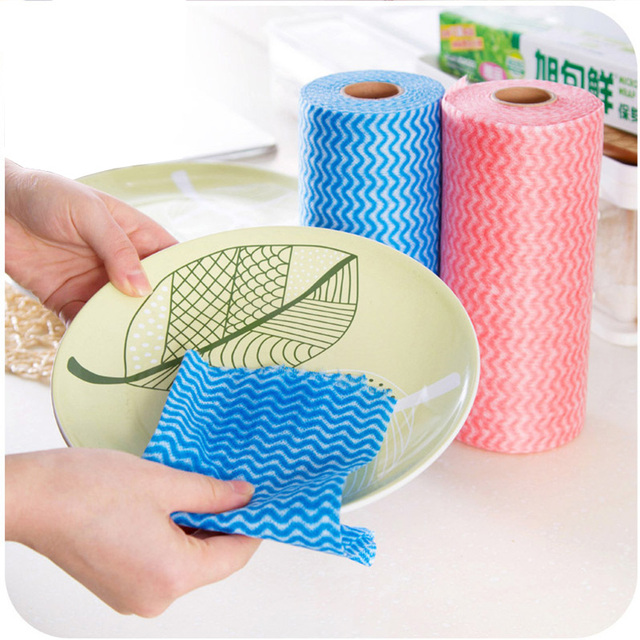 kitchen towel lighting melbourne 50pcs roll disposable wipes multi purpose grease cleaning cloth non woven bathroom clean scouring pad