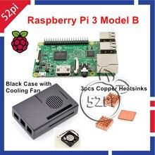 52Pi Новинка 2017 года Raspberry Pi 3 Модель B Starter Kit с черный чехол + вентилятор охлаждения + радиаторы