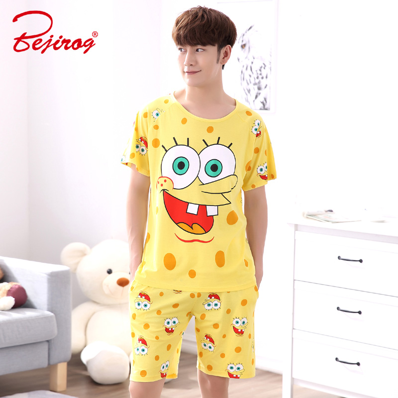 Bejirog Men Pajamas Set Cotton Sleepwear Cartoon Print Nightwear Short Sleeved Sleep Clothing Casual Nighties Summer Male Lounge