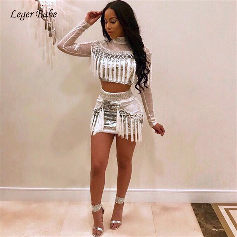 ... Feedback Questions about 2018 New Fashion Women High Neck Long Sleeve  Fishnet White Premium Silver Sequined Tassel Crop Top Two Piece Mini Glitter  Dress ... 82ef34cb4a15