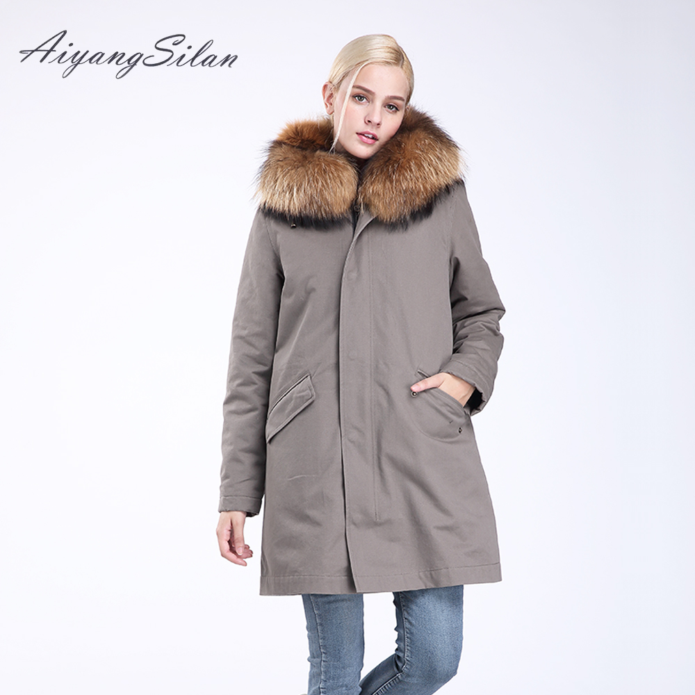 AiyangSilan Real Raccoon Fur Collar Parka Winter Natural Wolf Hair Liner Fashion Ladies Jacket Long Hooded Fur Coats for Women aiyangsilan fox fur down liner detachable jacket long warm hooded ladies fur coats white real fox fur collar parka for women