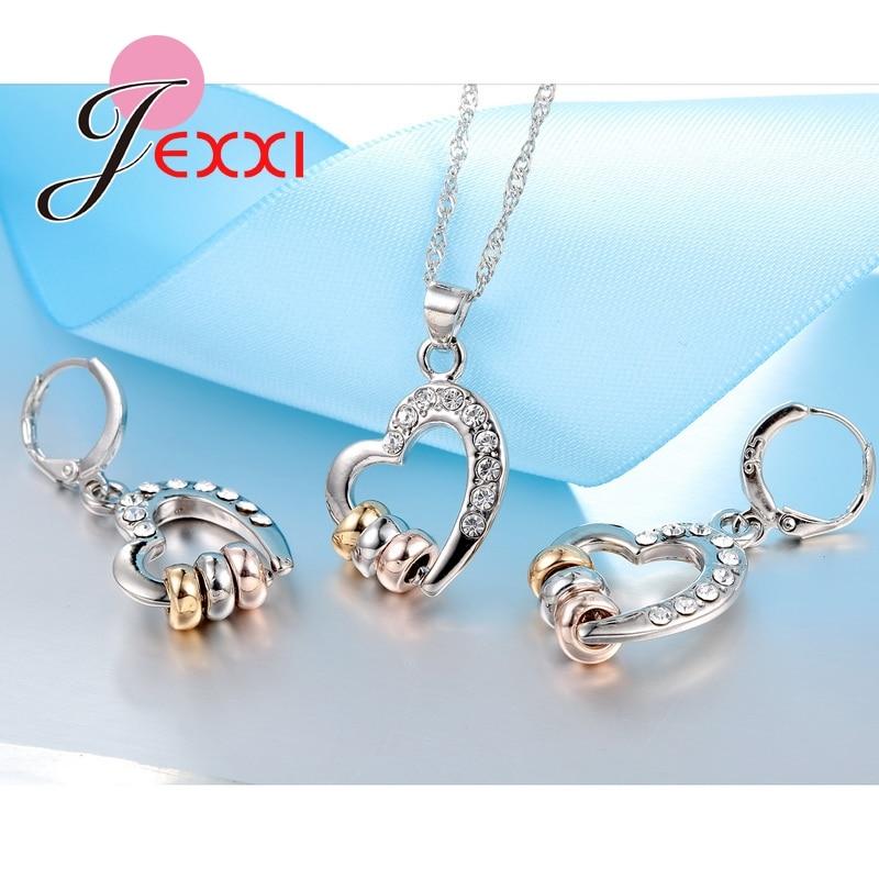 Luxury 925 Sterling Silver Necklace Earrings Jewelry Sets Clear CZ Crystal Rhinestone Heart Shape Womens Jewelry Sets
