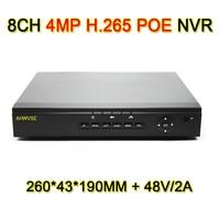 Ahwvse H.265 4mp PoE NVR 4ch 8ch сети видео Регистраторы 8 канальный PoE NVR с 48 В 2A Питание