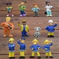 Juguetes de acción figura juguetes Lindos de la Historieta Fireman Sam PVC Muñecas Embroma el Regalo de Navidad 12 unids/set