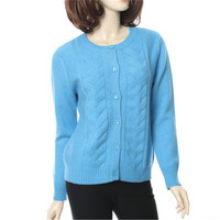 100%goat cashmere twisted thick knit women fashion single breasted Oneck cardigan sweater sky blue 4color S 2XL
