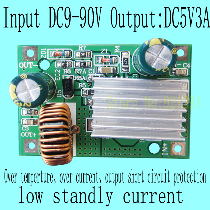 2pcs/lot New!DC-DC Step Down Converter Module DC 9~90V 80V 72V 60V 48V 24V to 5V 3A over-current protection 10pcs lot mp2307dn lf z mp2307dn mp2307 3a 23v 340khz synchronous rectified step down converter