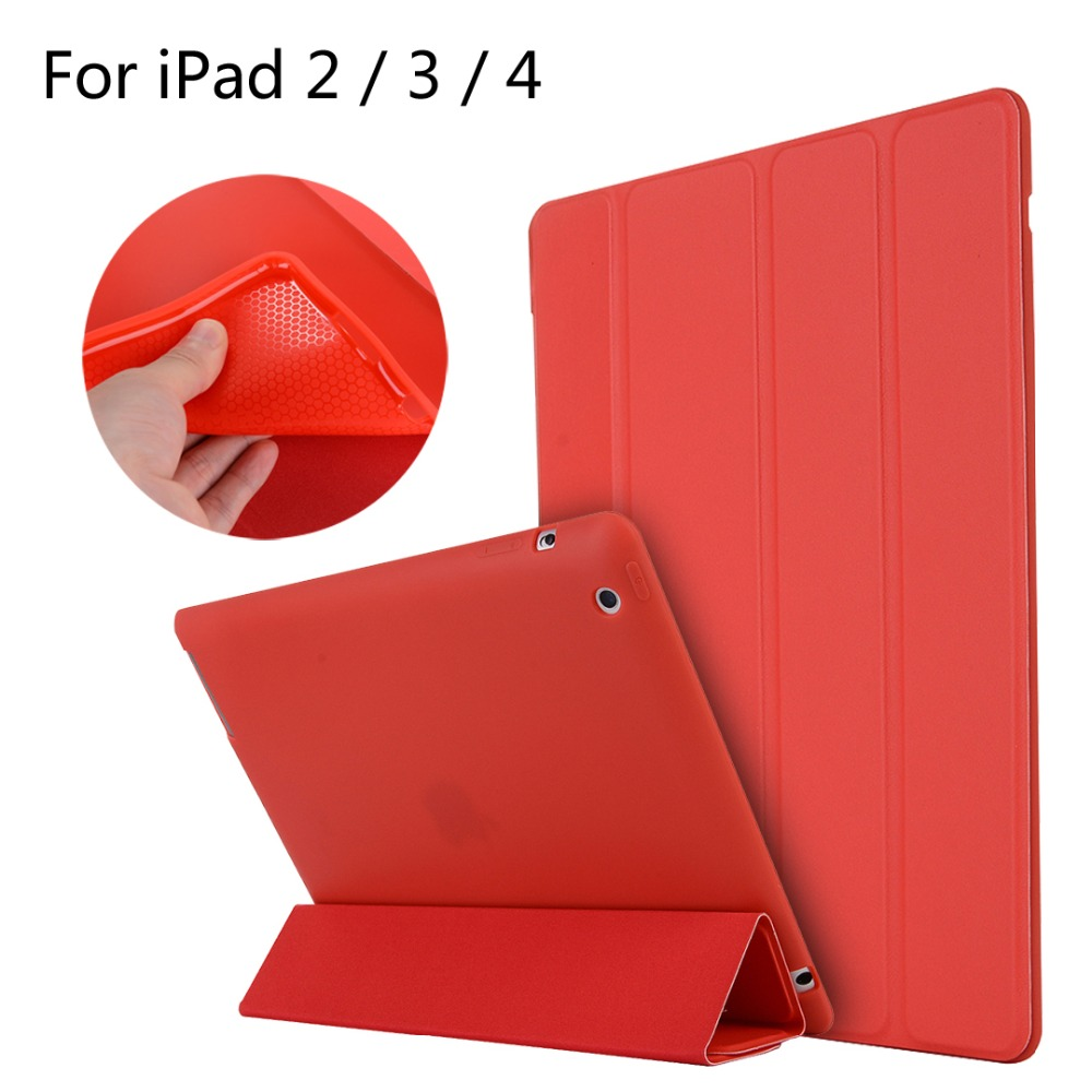 For iPad 2 / 3 / 4 High-quality case Cover Smart Slim Magnetic TPU Leather Stand Cases For iPad2/3/4 + Film + Stylus