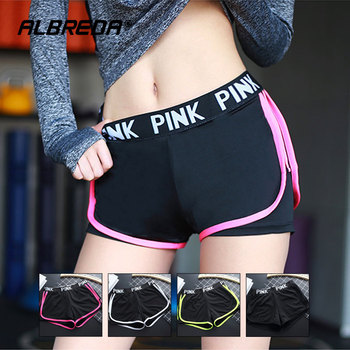 ALBREDA Letter Sports runing Shorts Women Yoga Shorts Push Hips Sexy Middle Waisted Gym Fitness Elastic Quick Dry Running Shorts