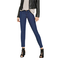 Women Dark Blue Casual Skinny Stretch Ankle-length Mid Waist Pencil Pants Jeans Plus Size Sale